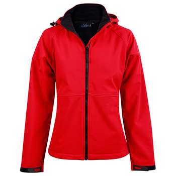 Red-Black - JK34 ASPEN Softshell Hood Jacket Ladies - Winning Spirit