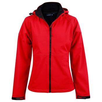 Red-Black - JK34 ASPEN Softshell Hood Jacket Ladies - Winning Spirit