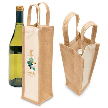 1195 Eco Jute 1 Bottle Wine Bag - Legend
