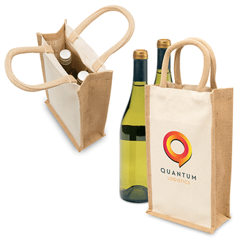 1196 Eco Jute 2 Bottle Wine Bag - Legend