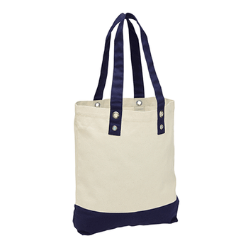 Natural-Navy - 1960 Canvas Beach Tote - Legend