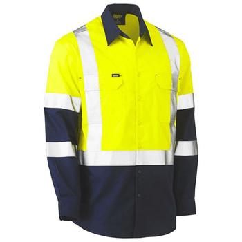 Yellow-Navy - BS6696XT 3M X Taped Hi Vis Cool Lightweight Shirt - Bisley