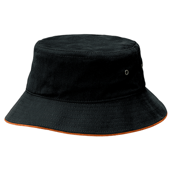 Black-Orange - 4007 Sandwich Brim Bucket Hat - Legend