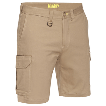 Khaki - BSHC1008 Mens Stretch Cotton Cargo Short - Bisley