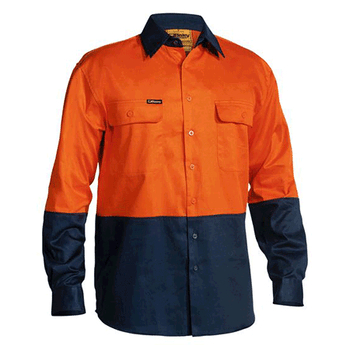 BS6267 - Hi Vis Drill Shirt - 2 Tone Long Sleeve Orange/Navy