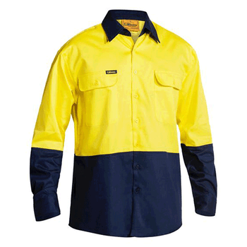 BS6267 - Hi Vis Drill Shirt - 2 Tone Long Sleeve Yellow/Navy