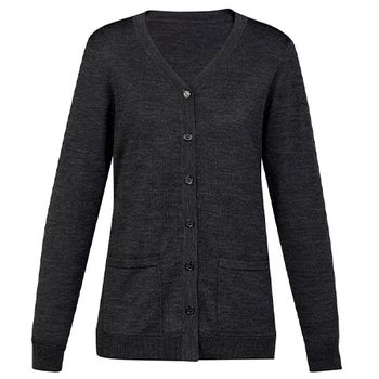 Charcoal - CK045LC Womens Button Front Cardigan - Biz Care