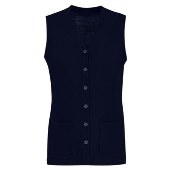 Navy - CK961LV Womens Button Front Knit Vest - Biz Care