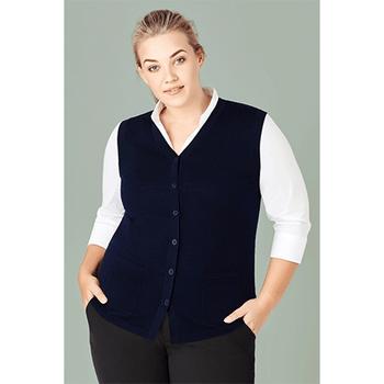CK961LV Womens Button Front Knit Vest - Biz Care
