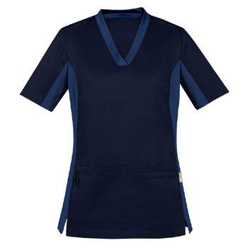 Midnight Navy - CST043LS Womens Riley V-Neck Scrub Top - Biz Care