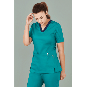 CST043LS Womens Riley V-Neck Scrub Top - Biz Care