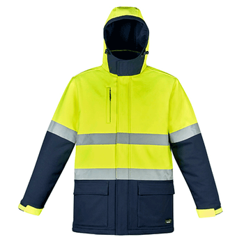 Yellow-Navy - ZJ553 Unisex Hi Vis Antarctic Softshell Taped Jacket - SYZMIK