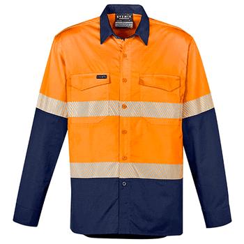 Orange-Navy - ZW229 Mens Rugged Cooling Hi Vis Segmented Tape L/S Shirt - SYZMIK