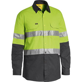 Lime-Charcoal - BS6415T 3M Taped Hi Vis X AIRFLOW Ripstop Shirt - Bisley