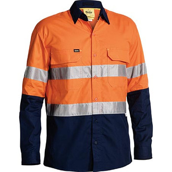 Orange-Navy - BS6415T 3M Taped Hi Vis X AIRFLOW Ripstop Shirt - Bisley