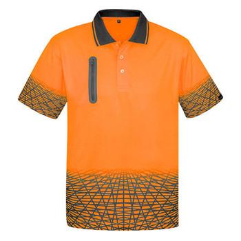 Orange-Charcoal - ZH300 Mens Tracks Polo - SYZMIK