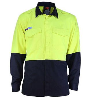 Yellow-Navy - 3441 Inherent FR PP31 2T L/W Shirt - DNC Workwear