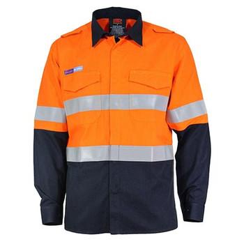 Orange-Navy - 3445 Inherent FR PPE1 2T L/W DN Shirt - DNC Workwear