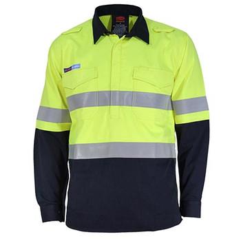 Yellow-Navy - 3447 Inherent FR PPE1 2T C/F DN L/W Shirt - DNC Workwear