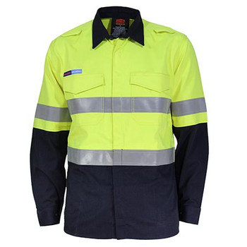 Yellow-Navy - 3455 Inherent FR PPE2 2T D/N Shirt - DNC Workwear