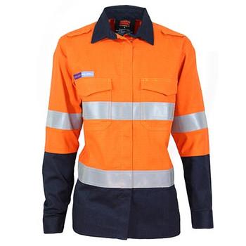 Orange-Navy - 3457 Ladies Inherent FR PPE2 2-Tone D/N Shirt - DNC Workwear