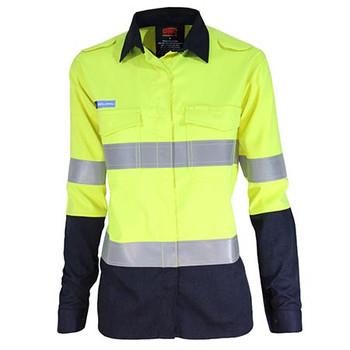 Yellow-Navy - 3457 Ladies Inherent FR PPE2 2-Tone D/N Shirt - DNC Workwear