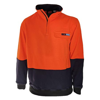 Orange-Navy - 3423 Hi-Vis 1/2 Zip FR and HRC2 Jumper - DNC Workwear