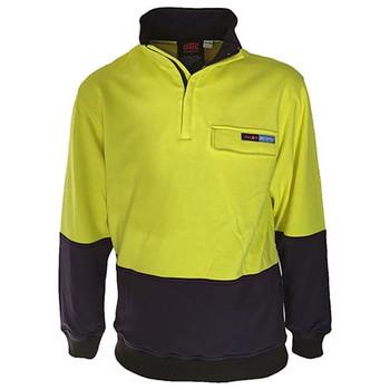 Yellow-Navy - 3423 Hi-Vis 1/2 Zip FR and HRC2 Jumper - DNC Workwear