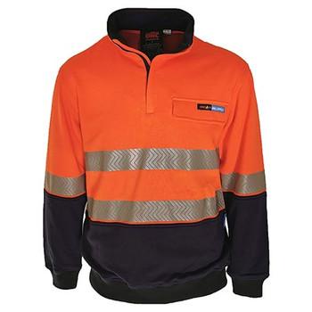 Orange/Navy - 3424 Hi-Vis 1/2 Zip FR HRC2 D/N Jumper - DNC Workwear