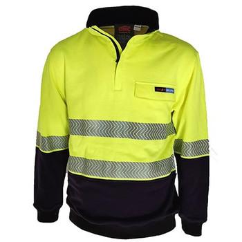 Yellow/Navy - 3424 Hi-Vis 1/2 Zip FR HRC2 D/N Jumper - DNC Workwear