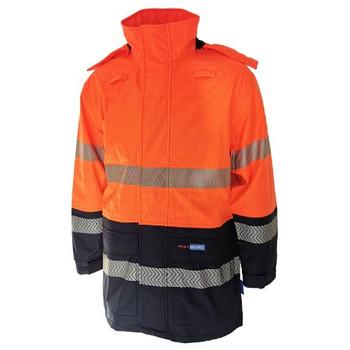 Orange-Navy - 3467 Hi-Vis FR and HRC2 D/N Rain Jacket - DNC Workwear