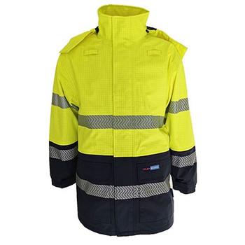 Yellow-Navy - 3467 Hi-Vis FR and HRC2 D/N Rain Jacket - DNC Workwear