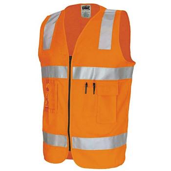 Orange - 3809 Day/Night Cotton Safety Vests - DNC Workwear