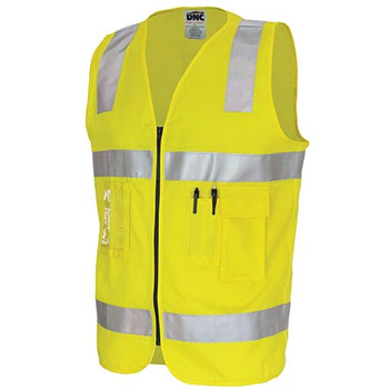 Yellow - 3809 Day/Night Cotton Safety Vests - DNC Workwear