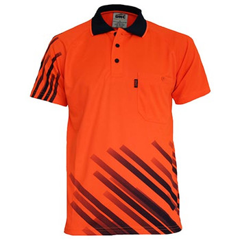 Orange - 3565 Hivis Sublimated Stripe Polo - DNC Workwear