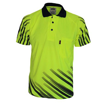 Yellow - 3566 HiVis Sublimated Full Stripe Polo - DNC Workwear
