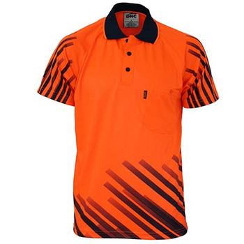 Orange - 3566 HiVis Sublimated Full Stripe Polo - DNC Workwear