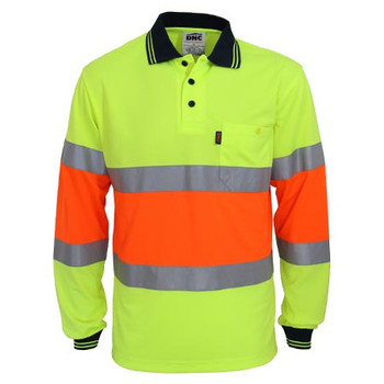 Yellow-Orange - 3709 Hi-Vis Cool-dry 2T Bio-motion D/N Polo - DNC Workwear
