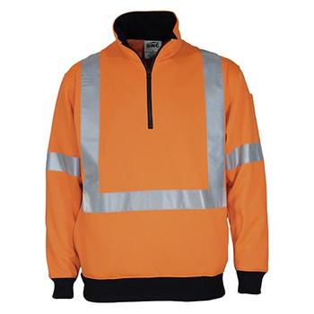 Orange - 3952 Hi-Vis X Back 1/2 Zip Cotton Jumper - DNC Workwear