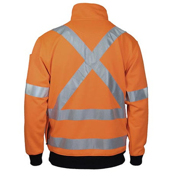 3952 Hi-Vis X Back 1/2 Zip Cotton Jumper - DNC Workwear