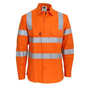 Orange - 3741 HiVis L/W CSR R/Tape VIC Rail Shirt- L/S - DNC Workwear