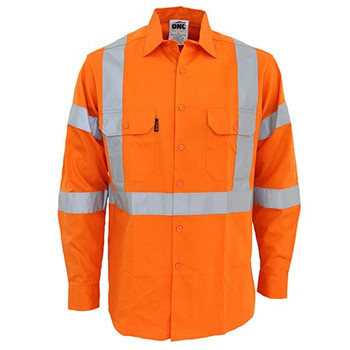 Orange - 3545 Hi-Vis 3 way vented X back Biomotion taped shirt - DNC Workwear