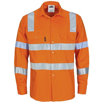 Orange - 3744 HiVis L/W Bio-motion Shoulder Stripe and X Back Shirt - DNC Workwear