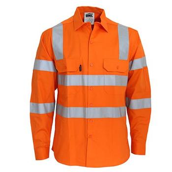 Orange - 3543 Hi-Vis 3 way Cool-Breeze VIC Rail Shirt - DNC Workwear
