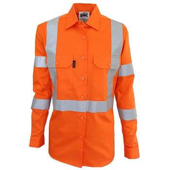 Orange - 3544 Ladies HiVis 3 way vented X back and Bio-motion taped shirt - DNC Workwear
