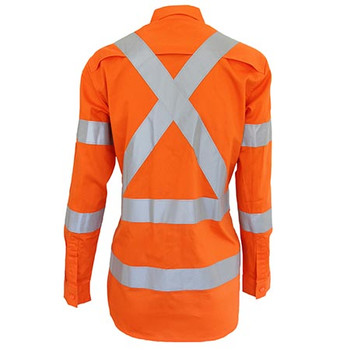 3544 Ladies HiVis 3 way vented X back and Bio-motion taped shirt - DNC Workwear