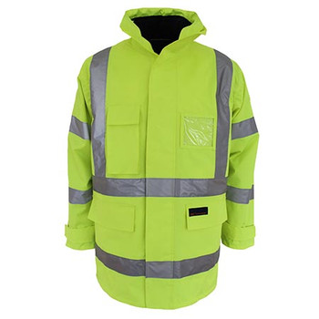Yellow - 3963 HiVis H pattern BioMotion tape 6 in 1 Jacket - DNC Workwear