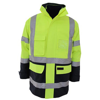 Yellow-Navy - 3964 HiVis H pattern 2T Biomotion tape 6 in 1 Jacket - DNC Workwear