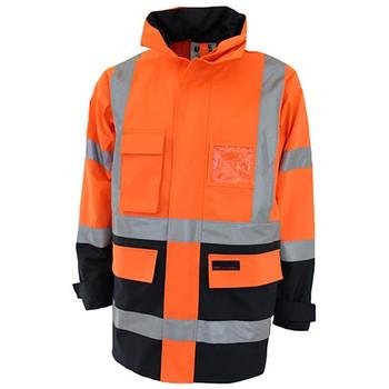 Orange-Navy - 3962 HiVis H pattern 2T Biomotion tape jacket - DNC Workwear