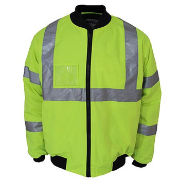 Yellow - 3763 HiVis X back flying jacket Biomotion tape - DNC Workwear